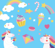 Cartoon unicorns surrounded by rainbows and rainbow-colored treats