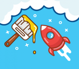 A cartoon paint brush and rocket ship float in the clouds