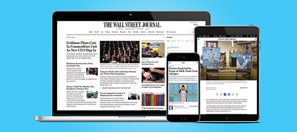 A laptop, tablet and phone, all displaying the Wall Street Journal online