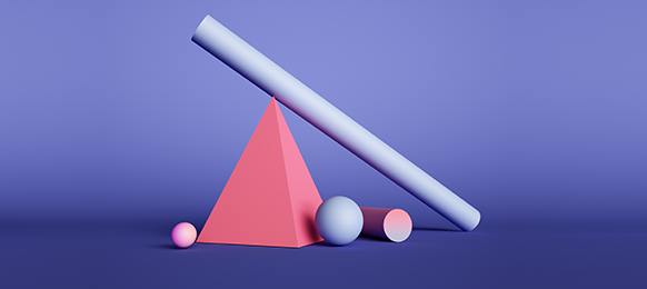 Abstract image of colorful 3D shapes arranged against a purple background