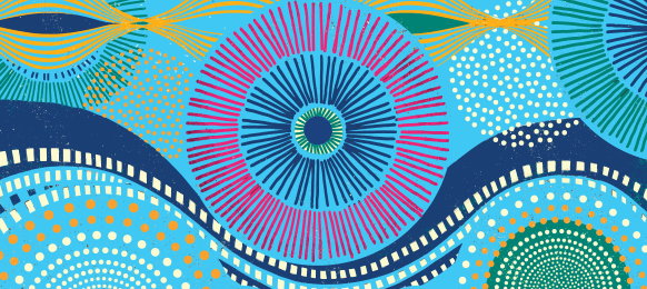 Colorful abstract circular patterns woven against a blue background