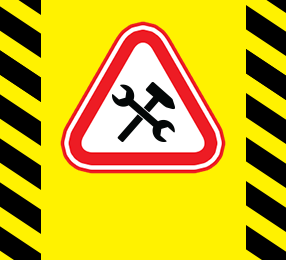 Image of a yellow construction sign