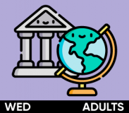 "Image shows hand-drawn icons of a museum and a globe against a purple background. A black bar at the bottom says ""Wednesday"" and ""Adults."""