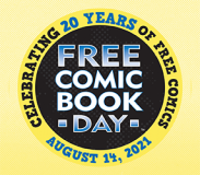 Free Comic Book Day logo against a yellow background