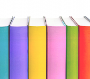 A row of colorful book spines